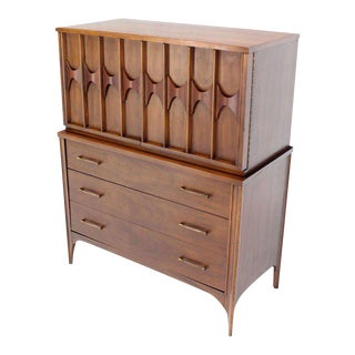 Vintage Mid-Century Danish Modern High Chest Dresser For Sale