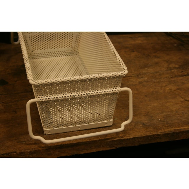 Vintage French Industrial Metal Basket With Handles For Sale - Image 4 of 11