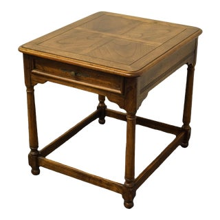 """French Country Hekman Furniture Banded Walnut 27x23"""" End Table For Sale"""