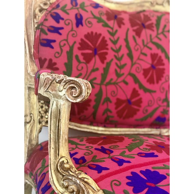 20th Century Boho Chic Red and Hot Pink Velvet French Settee - Image 3 of 11