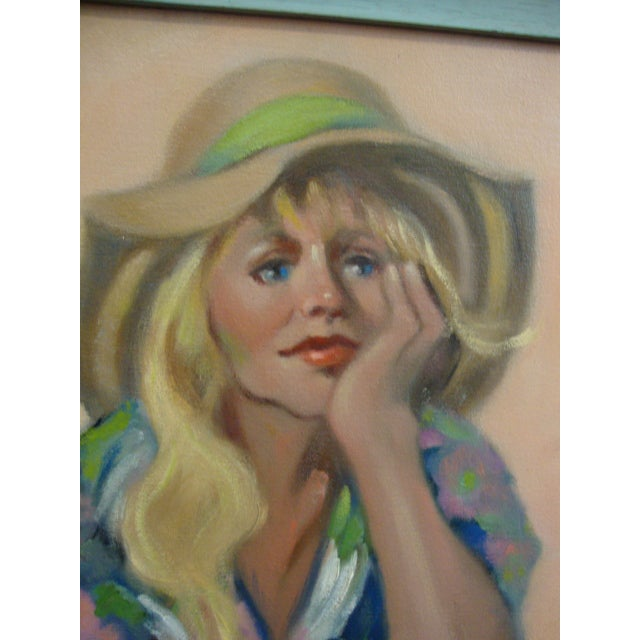 "Boho Chic ""Girl in a Straw Hat"" Oil Painting For Sale - Image 3 of 8"