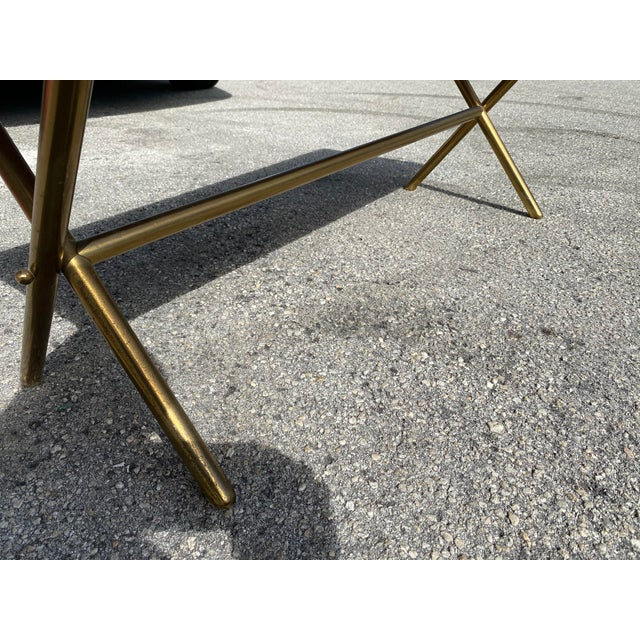 Metal Brass X Frame Cofee Table For Sale - Image 7 of 9
