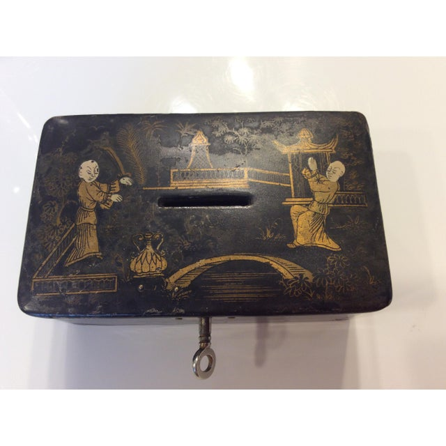 Late 19th Century 19th Century Antique Black Lacquer Chinoiserie Money Box With Key For Sale - Image 5 of 7