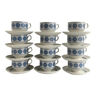 Mid 20th Century Pontesa Granada IronStone Cups & Saucers - Set of 8 (4 Cups, 4 Saucers) For Sale