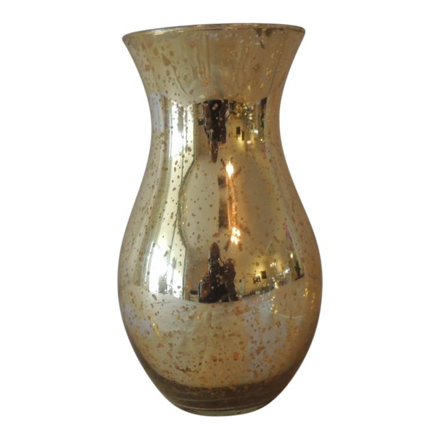 Vintage Gold Speckle Mercury Glass Vase With Organic Shape For Sale