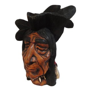 19th Century Hand-Carved and Painted Cigar Store Indian Head For Sale