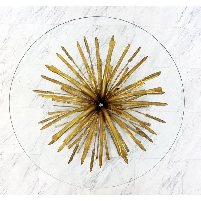 Hollywood Regency 1960s Mid-Century Modern Hollywood Regency Gilt Wheat Sheaf Round Cocktail Table For Sale - Image 3 of 6