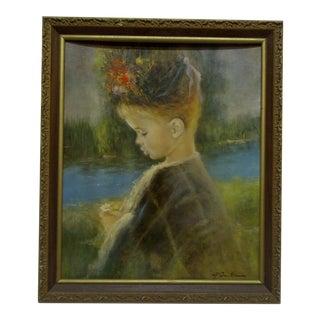 """Girl With a Flower"" Framed Original Print"