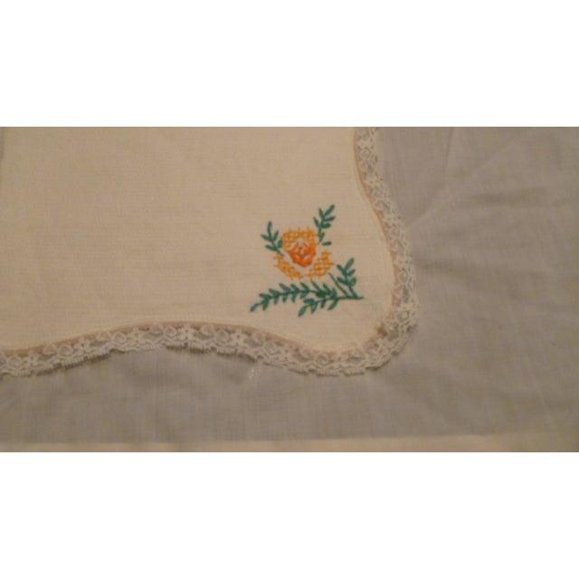 Vintage Handmade Embroidery Linen Topper Runner Biscuit Bread Holder For Sale - Image 4 of 10