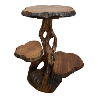Mid Century Live Edge Wood Side Table Plant Stand For Sale