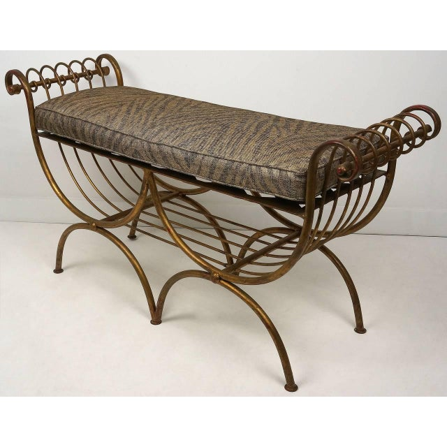 1960s Hollywood Regency Gold Gilt Metal Bench With Tiger Cushion, Italian 1960s For Sale - Image 5 of 11