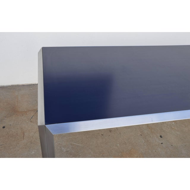 Contemporary Rare Brushed Stainless Steel and Laminate Desk by Bernard Marange for Tfm For Sale - Image 3 of 7