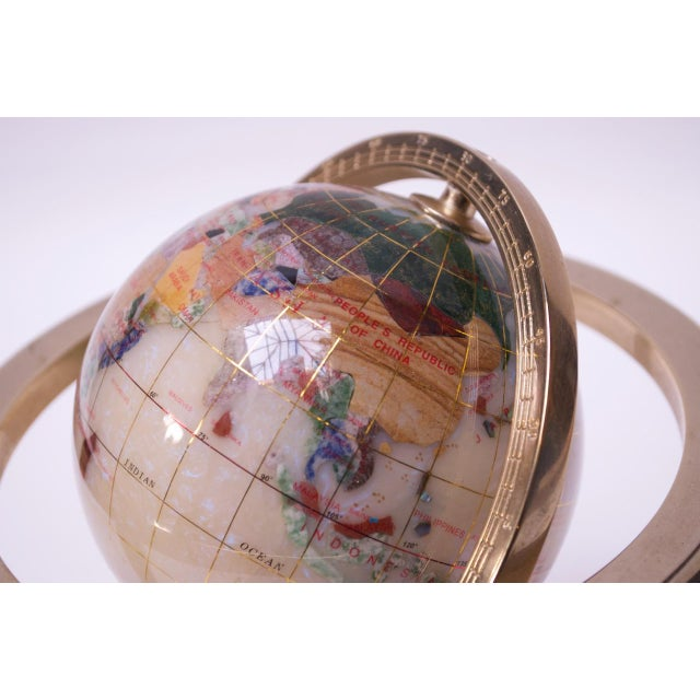 Metal Contemporary Petite Desk Globe in Brass, Gemstones, and Mother of Pearl For Sale - Image 7 of 13