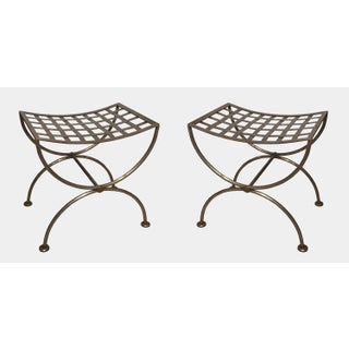 Pair of Brass-Trimmed Steel Lattice Benches Preview