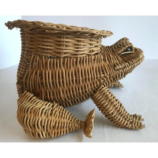 20th Century Country Wicker Frog Planter Basket For Sale In Dallas - Image 6 of 9