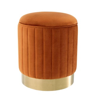 Eichholtz Allegra Orange Velvet Stool For Sale