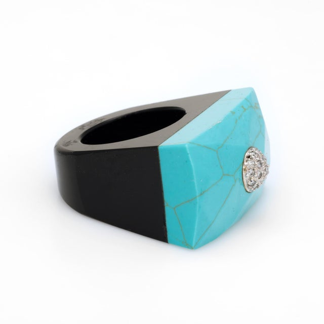Modern East West Turquoise Onyx Diamond Cocktail Ring For Sale - Image 3 of 7