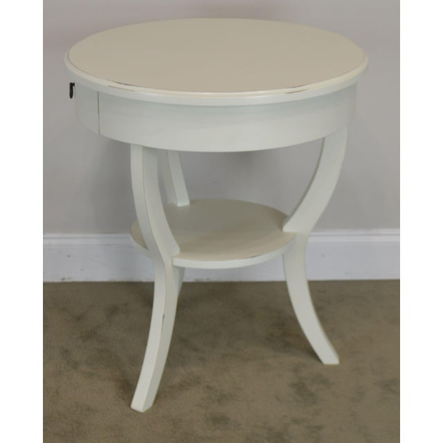 Round White One Drawer Side Table For Sale In Philadelphia - Image 6 of 13