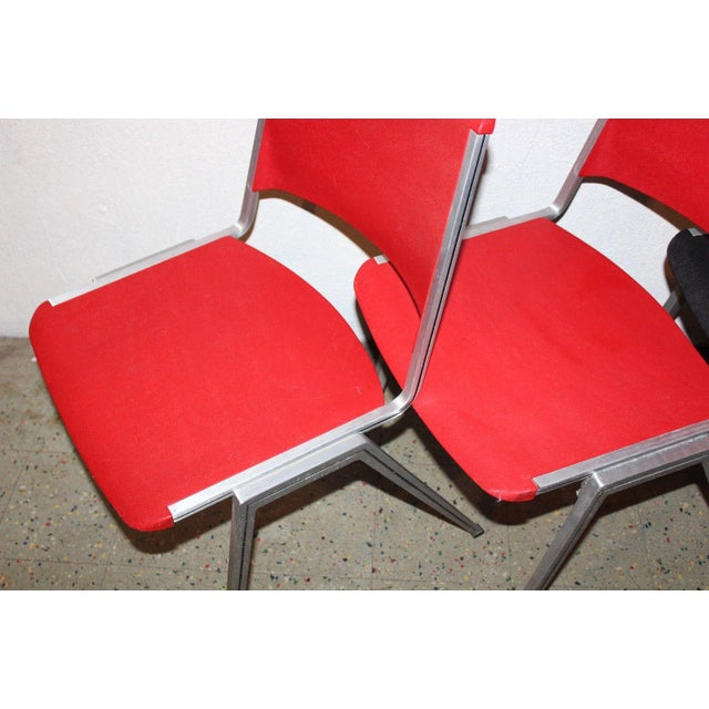 Red 1960s Mid Century Modern Steelcase Stackable Plastic Backed Chairs - Set of 4 For Sale - Image 8 of 11