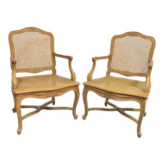 Century Furniture Louis XV Style Caned Chairs - a Pair For Sale