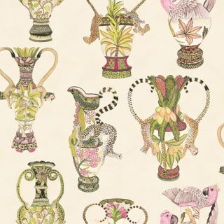 Cole & Son Khulu Vases Classic Wallpaper Sample For Sale