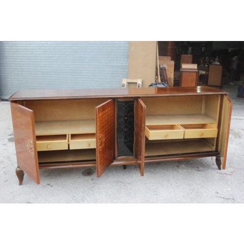 Art Deco Long French Art Deco Sideboard / Buffet By Jules Leleu with Mother of Pearl Circa 1940s For Sale - Image 3 of 8