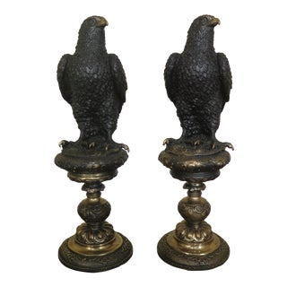 1980s Vintage Bronze Eagle Statues- A Pair For Sale