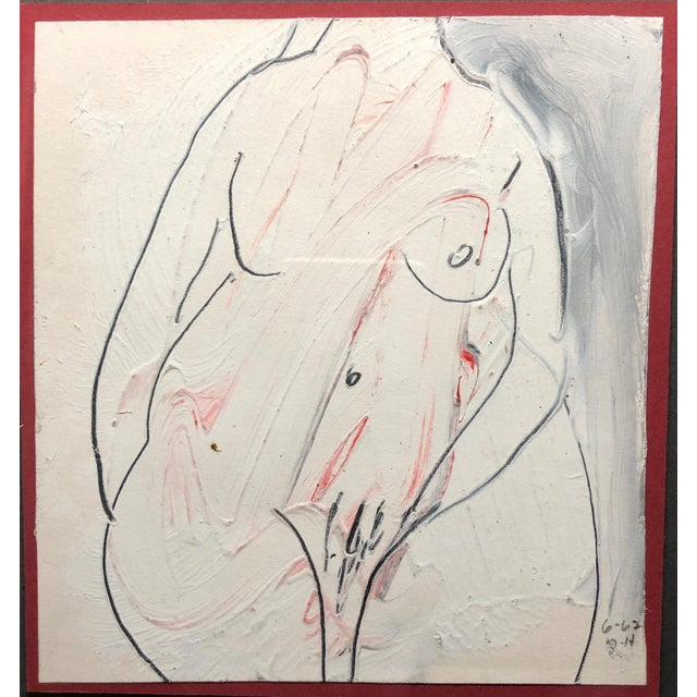 "Jack Hooper Female Nude 6-1962 Tempera and pencil on paper 5.75""x6"" framed vintage carved wood 10.5""x1""x13.5"" Signed and..."