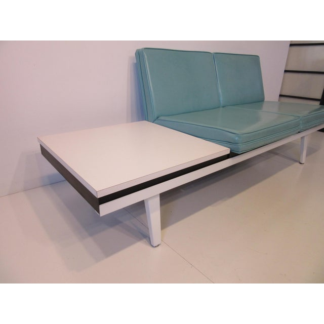 Herman Miller George Nelson Steelframe Two Place Sofa With Side Table by Herman Miller For Sale - Image 4 of 7