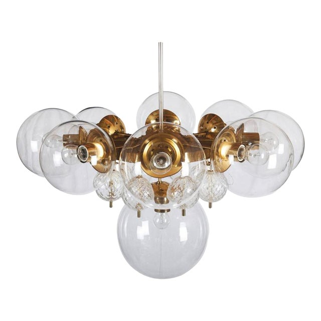 Large Brass Chandelier with Crystal Balls by Kamenicky Senov, 1960s For Sale
