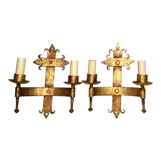 Late 19th / Early 20th C. French Wired Double Light Wall Sconces - a Pair For Sale