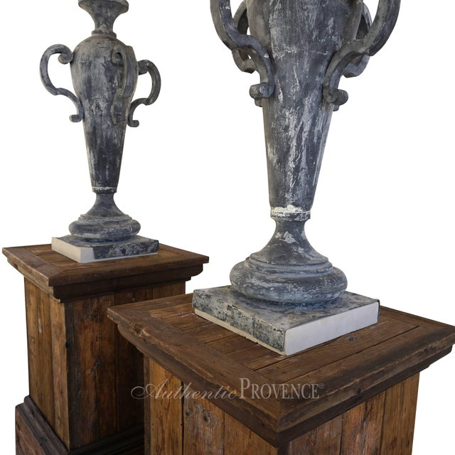 Gray 19th Century French Napoleon III Zinc Finial Urns - a Pair For Sale - Image 8 of 11