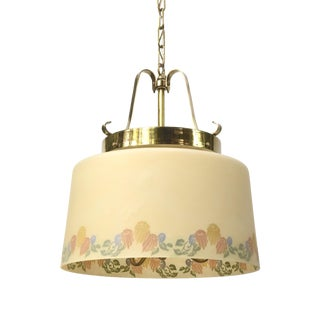 Vintage Floral Glass Shade Lightolier Fixture For Sale