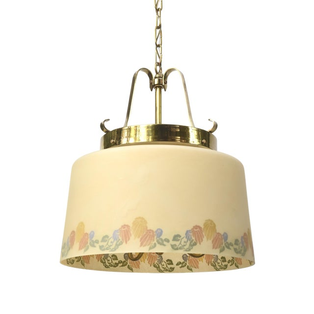 Vintage Floral Glass Shade Lightolier Fixture - Image 1 of 4