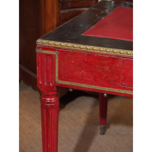 French Vintage French Leather Writing Desk For Sale - Image 3 of 10