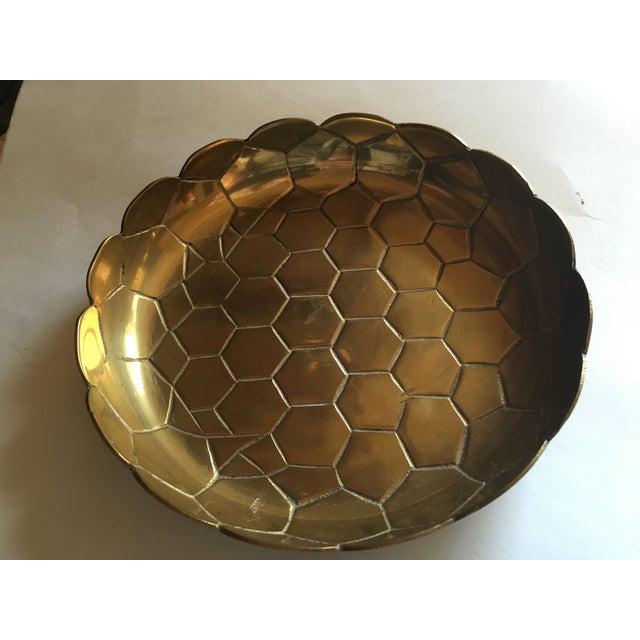Vintage Brass Octagon Pattern Bowl - Image 3 of 6