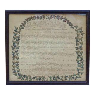 Watercolor Family Record circa 1826 For Sale