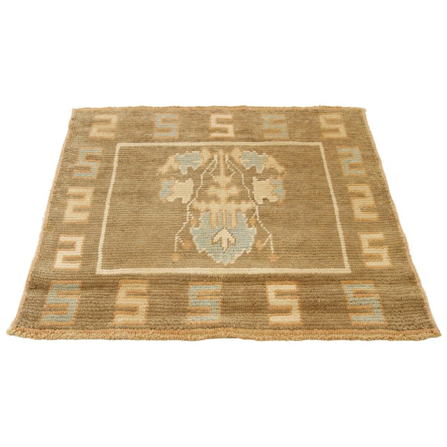 Contemporary handmade Turkish rug from high-quality sheep's wool and colored with eco-friendly vegetable dyes that are...