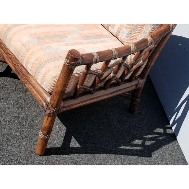 Pink Vintage McGuire Furniture Company Rattan Sofa With Leather Rawhide Ties For Sale - Image 8 of 13