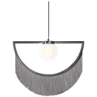Wink Metal-Plated Pendant Lamp With Grey Fringes For Sale