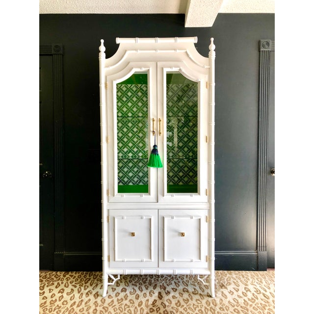 Thomasville 1970s Vintage Thomasville Faux Bamboo China Cabinet For Sale - Image 4 of 12