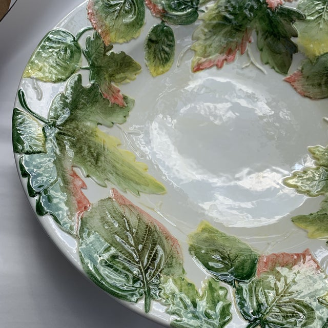 Italian Vintage Italian Majolica White With Green Leaves Salad Bowl For Sale - Image 3 of 5