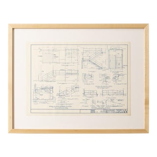 Mies Van Der Rohe Blueprint, Crown Hall, Chicago, 1954, North Platform For Sale