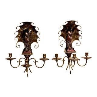 Handcrafted Sho Xing Chinese Three Candle Arms Sconces - a Pair For Sale