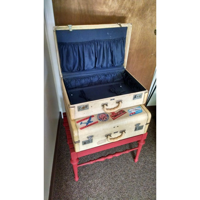 Vintage Suitcase Storage Accent Table - Image 4 of 9