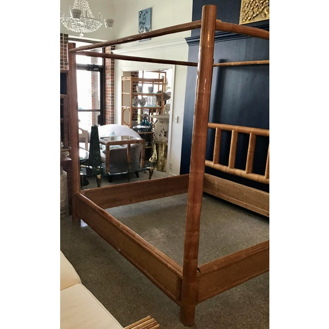 Vintage Boho Chic King Size Bamboo Canopy Bedframe For Sale In West Palm - Image 6 of 12