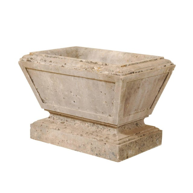 White European Hand-Carved Rectangular Tapered Stone Planter For Sale - Image 8 of 8