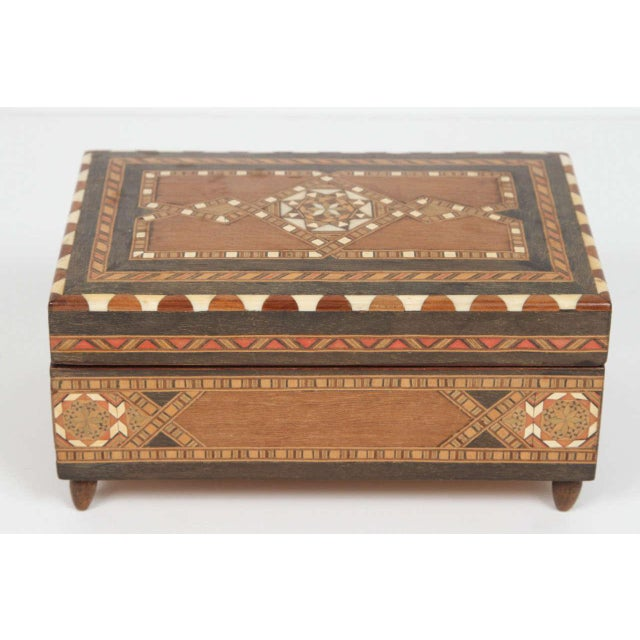 Spanish Inlaid Marquetry Jewelry Music Box For Sale - Image 10 of 10