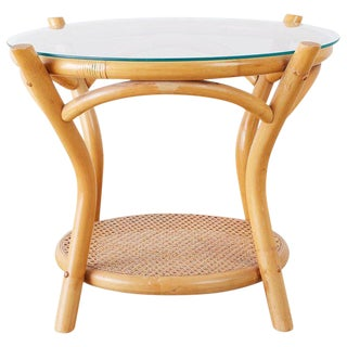Round Bamboo and Rattan Two-Tier Drinks Table For Sale