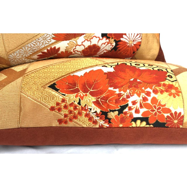 Vintage Japanese Gold & Rust Obi Pillows - A Pair - Image 5 of 7
